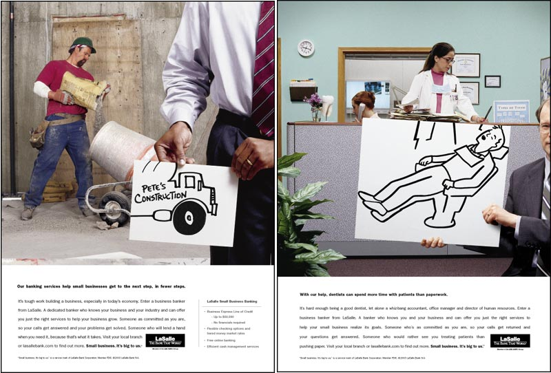 Sample: two print ads for LaSalle Bank small business services